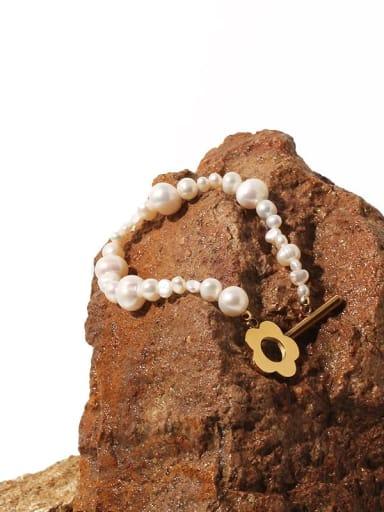 Titanium Steel Freshwater Pearl Geometric Minimalist Link Bracelet