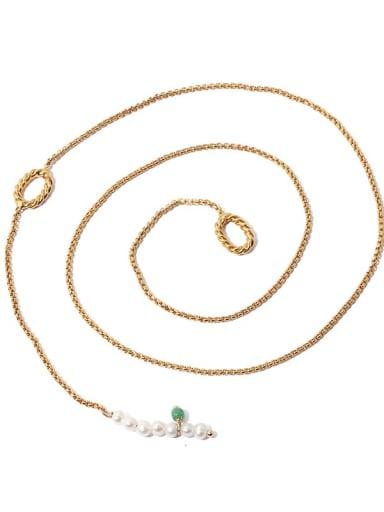 Brass Imitation Pearl Tassel Vintage Lariat Necklace