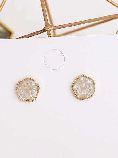 Beige Copper Opal Geometric Dainty Stud Earring