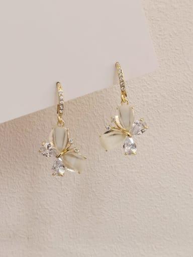 Brass Cats Eye Butterfly Minimalist Drop Earring