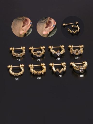 Brass Cubic Zirconia Irregular Hip Hop Single Earring