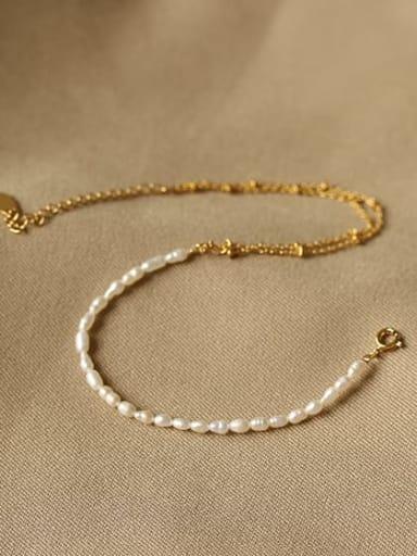 Brass Geometric Minimalist  Freshwater Pearl Anklet