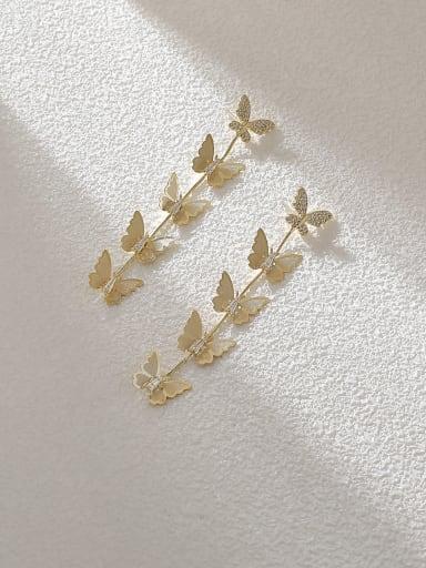 Brass Cubic Zirconia Butterfly Ethnic Drop Earring