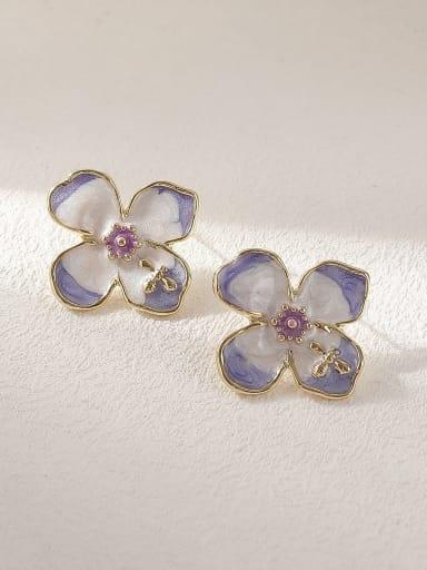 Brass Enamel Flower Minimalist Stud Earring