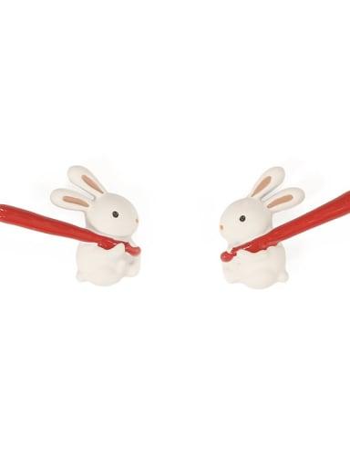 Alloy Enamel Irregular Cute rabbit Stud Earring