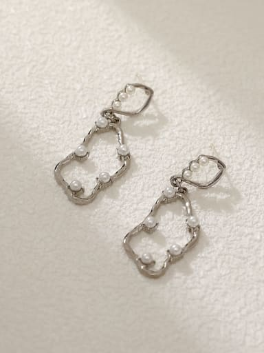 White K Brass Imitation Pearl Geometric Vintage Drop Earring