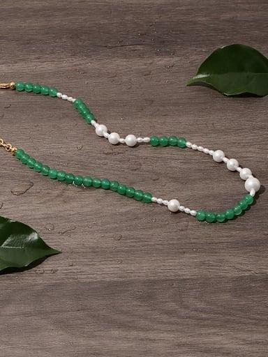 Brass Imitation Pearl Geometric Vintage Beaded Necklace