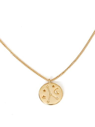 Cancer Brass Minimalist  Twelve constellations Pendant Necklace