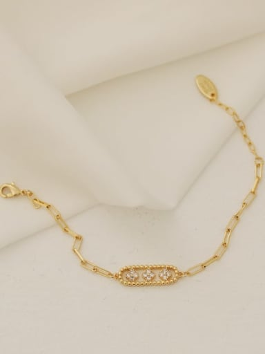 Brass Cubic Zirconia Geometric Vintage Link Bracelet