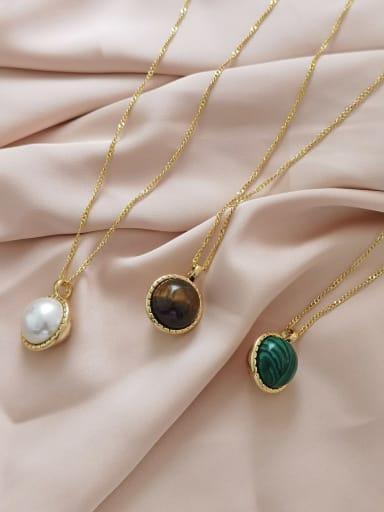 Brass Imitation Pearl Geometric Minimalist Necklace