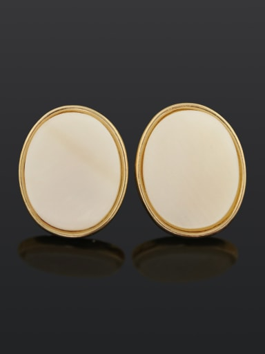 Oval (ear clip) Brass Shell Geometric Minimalist Stud Earring