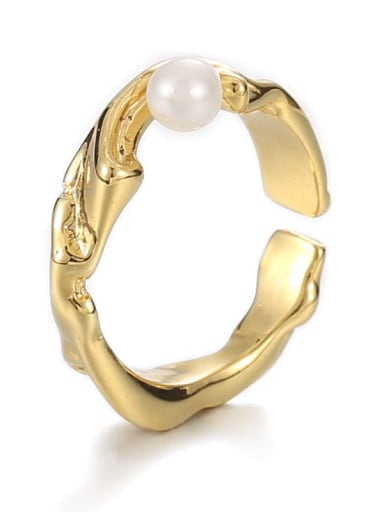 A pearl ring (adjustable) Brass Imitation Pearl Irregular Hip Hop Band Ring
