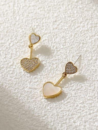 Brass Cubic Zirconia Heart Minimalist Stud Earring