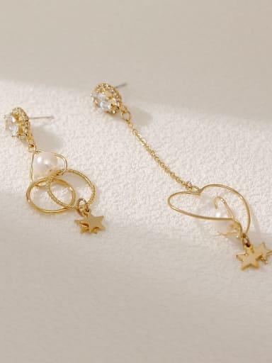 14k Gold Brass Imitation Pearl Heart Minimalist Hook Earring