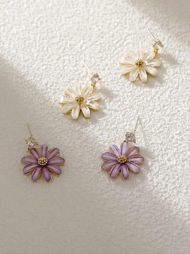 Brass Resin Flower Minimalist Stud Earring
