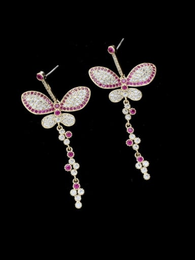 Brass Cubic Zirconia Butterfly Statement Drop Earring