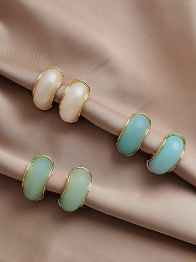 Brass Resin Geometric Trend Stud Earring