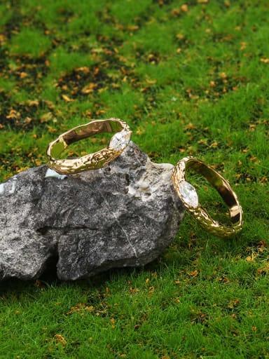 Brass Cubic Zirconia Irregular Ethnic Band Ring