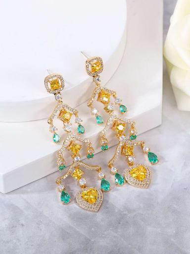 yellow Brass Cubic Zirconia Multi Color Heart Statement Drop Earring