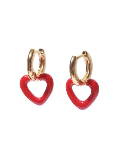 Brass Enamel Heart Minimalist Drop Earring