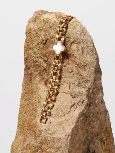 Brass Enamel Clover Hip Hop Link Bracelet