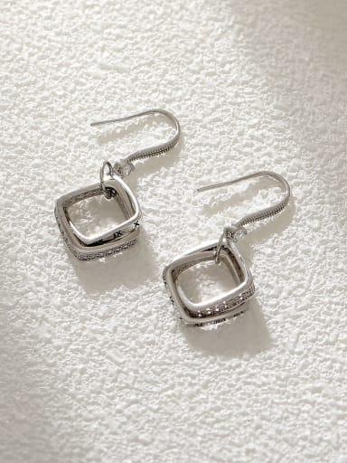 White K Brass Cubic Zirconia Geometric Minimalist Hook Earring