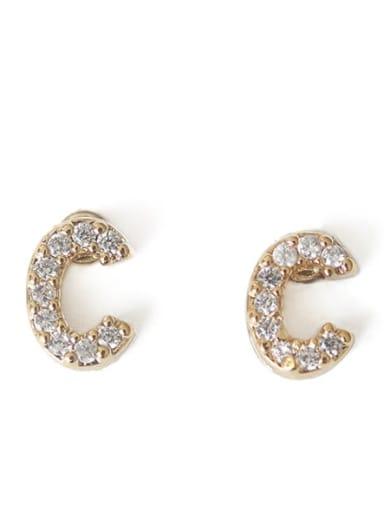 C Brass Cubic Zirconia Letter Minimalist Stud Earring