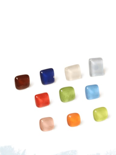Translucent red Alloy Glass Stone Enamel Geometric Minimalist Stud Earring