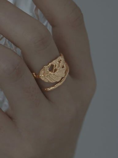 Brass Cubic Zirconia Hollow Tree Leaf Vintage Band Ring