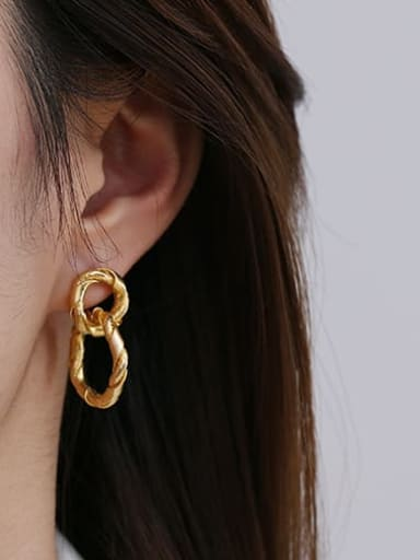 Double ring Brass Hollow Round Vintage Drop Earring