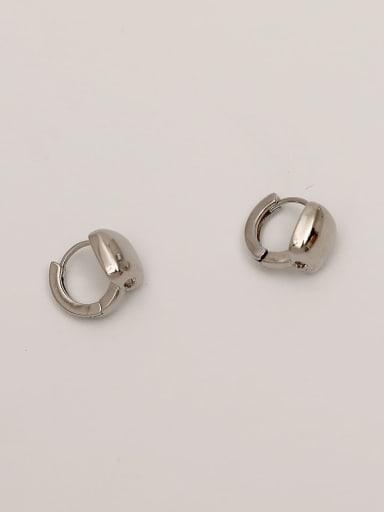 white K Brass Geometric Minimalist Huggie Earring