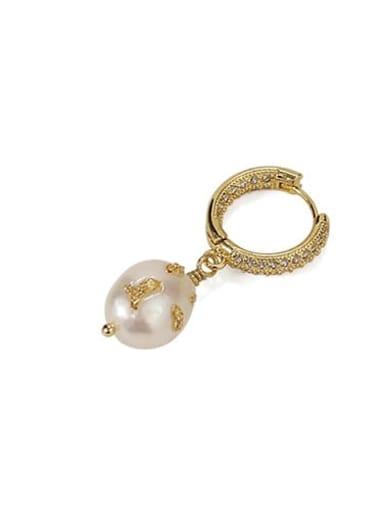 golden Brass Freshwater Pearl Geometric Vintage Huggie Earring