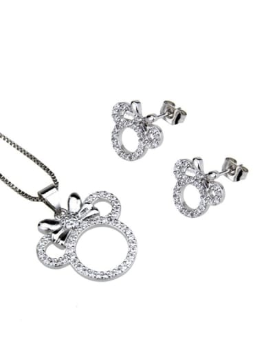 Platinum plating Brass Cubic Zirconia  Cute Mouse Earring and Necklace Set