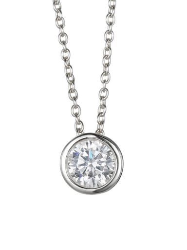 Steel color Stainless steel  Round Cubic Zirconia Round Minimalist Necklace
