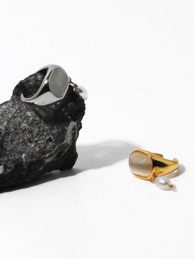 Brass Cats Eye Geometric Vintage Single No pierced ear clip
