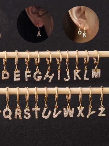 Brass Cubic Zirconia Letter Hip Hop Huggie Earring