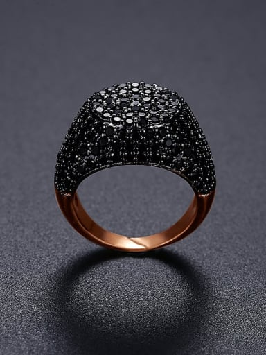 rose gold  17B06 Brass Cubic Zirconia Geometric Hip Hop Band Ring