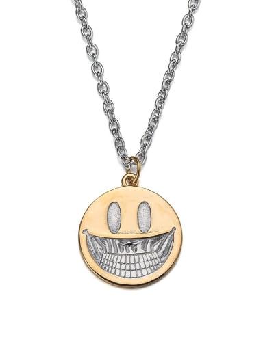 gold Titanium Steel Hip Hop Demon Smiley Necklace