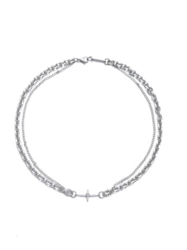 Titanium Steel Geometric Hip Hop Multi Strand Necklace