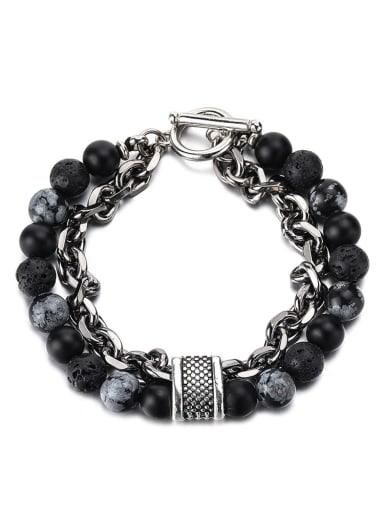 Snow mix and match Titanium Steel Obsidian Geometric Hip Hop Beaded Bracelet