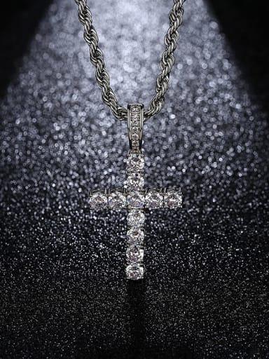 Platinum 18in 46cm twist chain t20b28 Brass Cubic Zirconia Cross Hip Hop Regligious Necklace