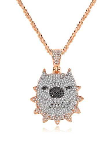 Brass Cubic Zirconia Pig Hip Hop Necklace