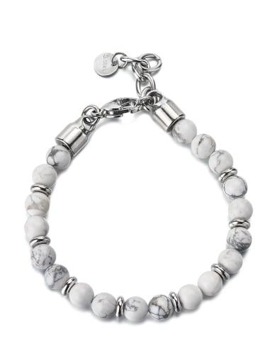 White pine Titanium Steel Obsidian Geometric Vintage Beaded Bracelet