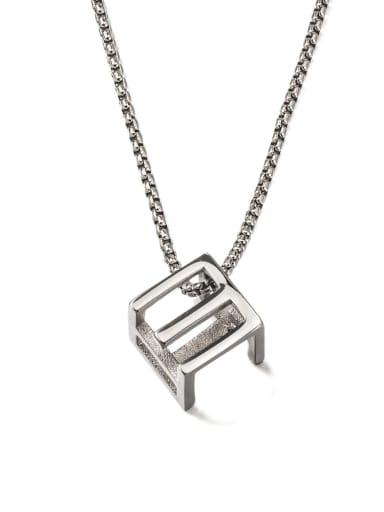 Steel color (1314) Titanium Steel Square Minimalist Long Strand Necklace