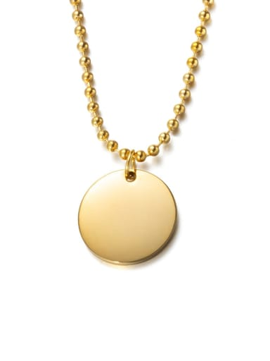 Golden (chain length 51cm) Titanium Steel Glossy Round Pendant Necklace