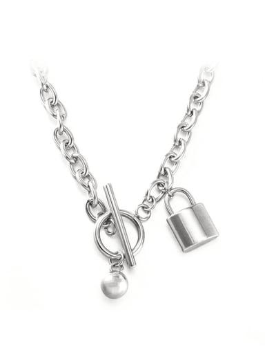 Metal ball lock ot Necklace Titanium Steel Locket Hip Hop Necklace