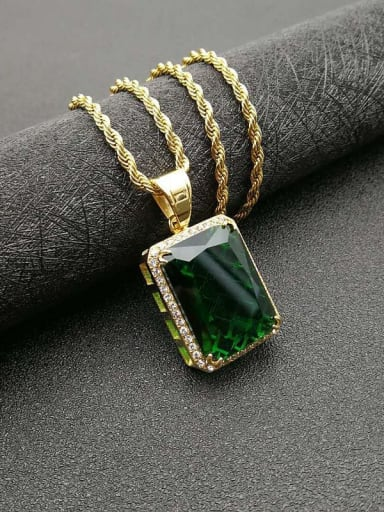 Gold green stone  necklace Titanium Vintage Geometric  Glass stone  Necklace