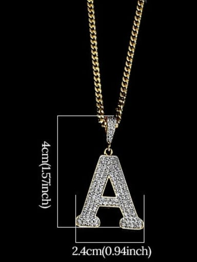 A 24in 60cmT20B01 Brass Cubic Zirconia Letter Hip Hop Initials Necklace
