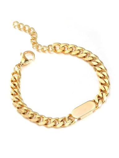 golden Titanium Steel Geometric Hip Hop Link Bracelet