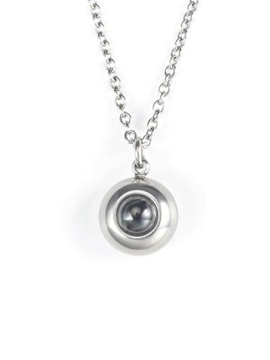 Titanium Steel Rhinestone Round Hip Hop Necklace